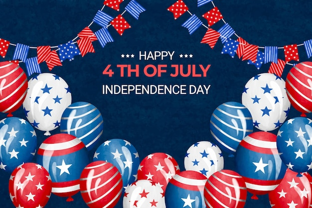 Handgeschilderde aquarel 4 juli - onafhankelijkheidsdag illustratie