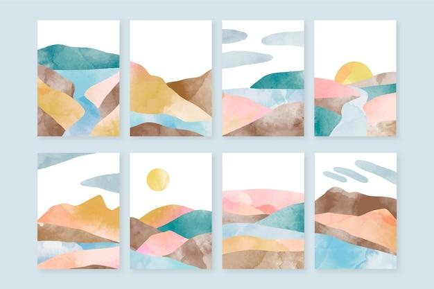 Handgeschilderde aquarel abstract landschap omvat collectie