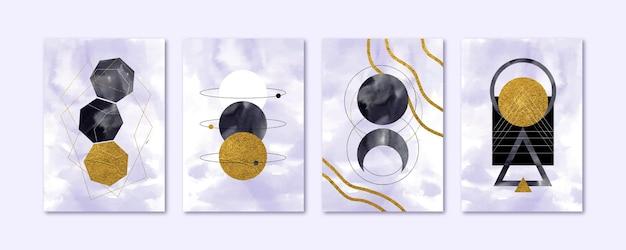 Handgeschilderde aquarel abstracte kunst omslagcollectie