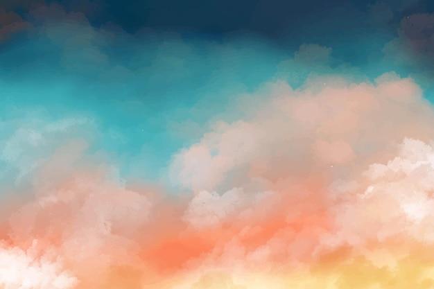 Handgeschilderde aquarel achtergrond met lucht en wolken vorm