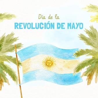Handgeschilderde aquarel argentijnse dia de la revolucion de mayo illustratie