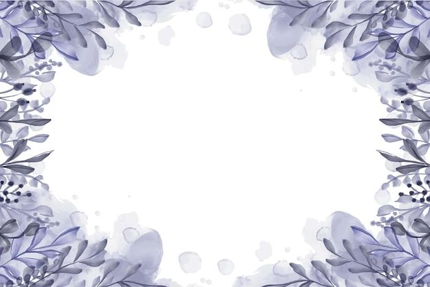 Handgeschilderde aquarel blad paarse achtergrond