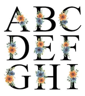 Handgeschilderde aquarel blauw oranje bloemen alfabet ontwerp bewerkbare premium vector