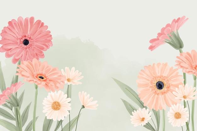 Handgeschilderde aquarel bloemen achtergrond Gratis Vector