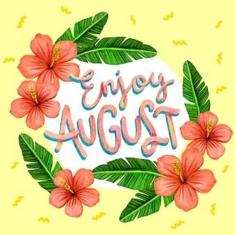 Handgeschilderde aquarel bloemen augustus belettering