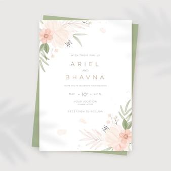 Handgeschilderde aquarel bloemen bruiloft uitnodiging sjabloon