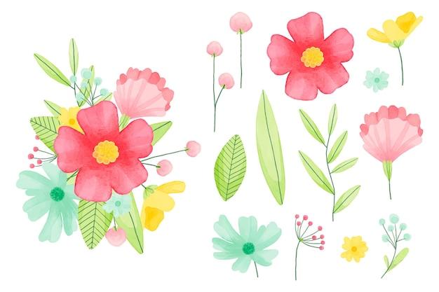 Handgeschilderde aquarel bloemen elementen collectie