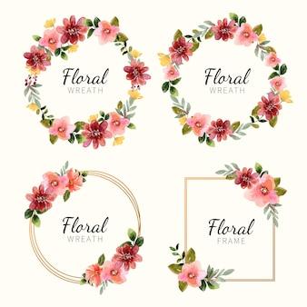 Handgeschilderde aquarel bloemen frame collectie