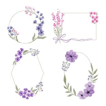 Handgeschilderde aquarel bloemen kaderset