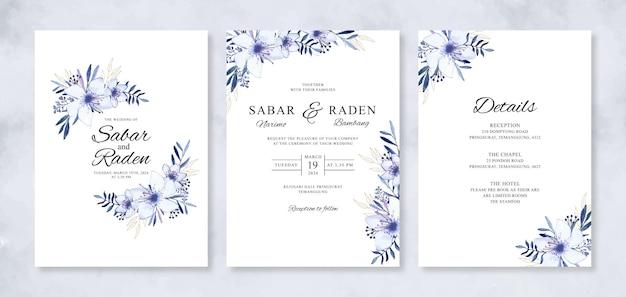 Handgeschilderde aquarel bloemen voor set huwelijksuitnodigingen