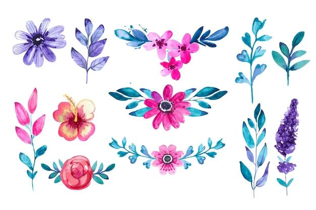 Handgeschilderde aquarel bloemencollectie