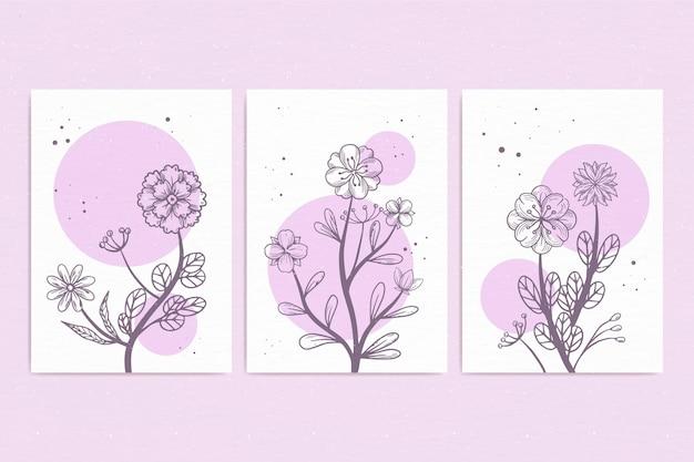 Handgeschilderde aquarel bloemenkaarten collectie