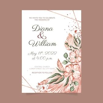 Handgeschilderde aquarel boho bruiloft uitnodiging sjabloon