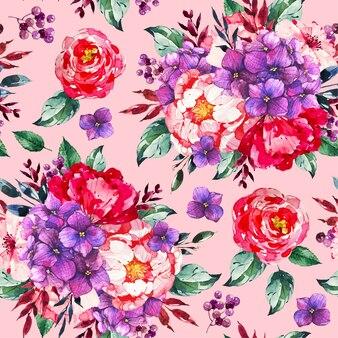 Handgeschilderde aquarel botanisch patroon