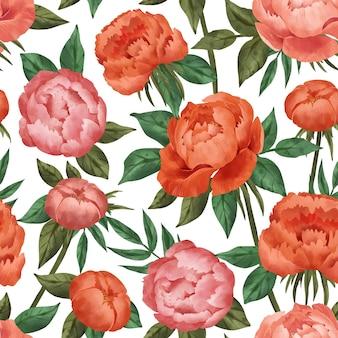 Handgeschilderde aquarel botanische patroon
