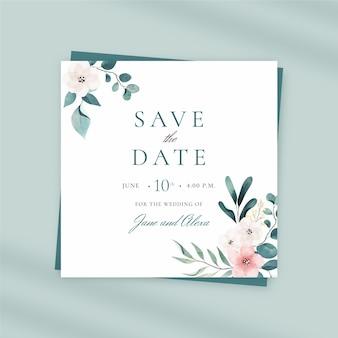Handgeschilderde aquarel bruiloft kwadraat flyer