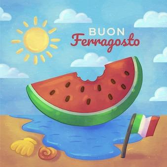 Handgeschilderde aquarel buon ferragosto illustratie