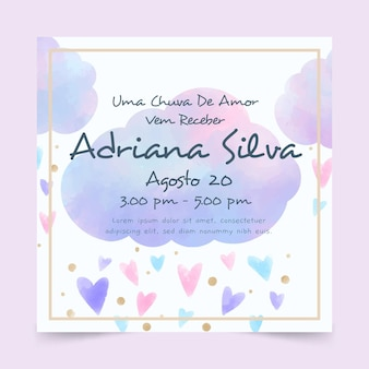 Handgeschilderde aquarel chuva de amor baby shower uitnodiging