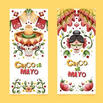 Handgeschilderde aquarel cinco de mayo banners set