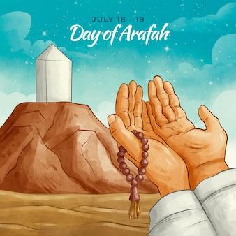 Handgeschilderde aquarel dag van arafah illustratie