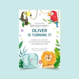 Handgeschilderde aquarel dieren verjaardag uitnodiging sjabloon Gratis Vector