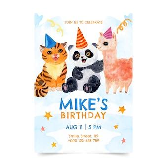 Handgeschilderde aquarel dieren verjaardag uitnodiging sjabloon