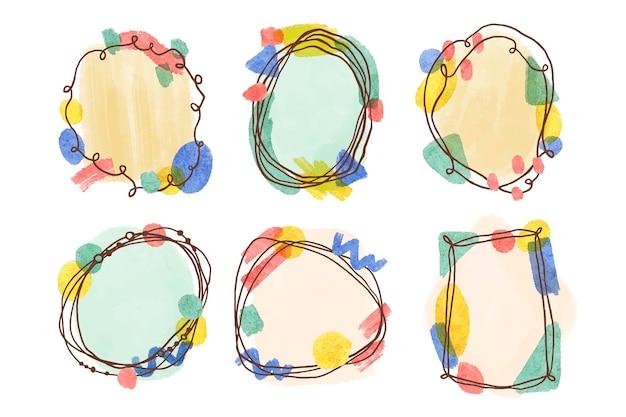 Handgeschilderde aquarel doodle frames collectie
