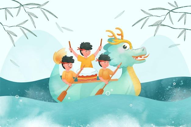 Handgeschilderde aquarel drakenboot achtergrond