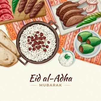 Handgeschilderde aquarel eid al-adha illustratie