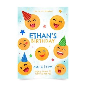 Handgeschilderde aquarel emoji verjaardagsuitnodiging sjabloon