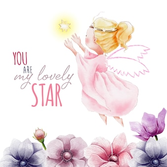 Handgeschilderde aquarel engel met ster en bloemen