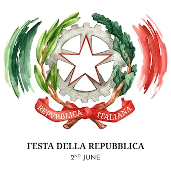Handgeschilderde aquarel festa della repubblica illustratie