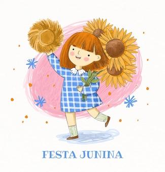 Handgeschilderde aquarel festa junina illustratie