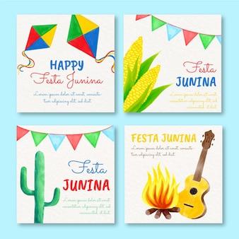 Handgeschilderde aquarel festa junina kaarten collectie