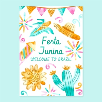 Handgeschilderde aquarel festa junina verticale poster sjabloon