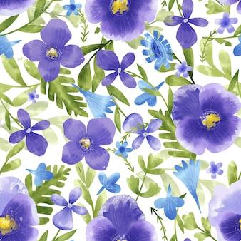 Handgeschilderde aquarel gedrukt veldboeket patroon