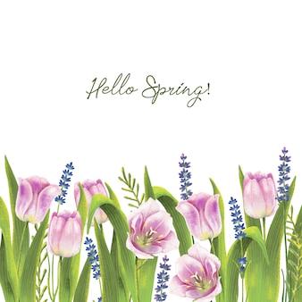 Handgeschilderde aquarel grens met lente tulpen