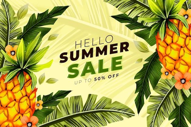 Handgeschilderde aquarel hallo zomer verkoop illustratie