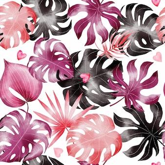 Handgeschilderde aquarel happy valentines dag naadloze patroon met tropische bladeren