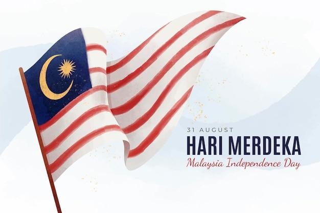 Handgeschilderde aquarel hari merdeka illustratie