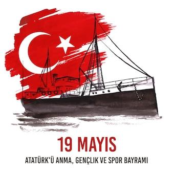 Handgeschilderde aquarel herdenking van ataturk, jeugd en sportdag illustratie