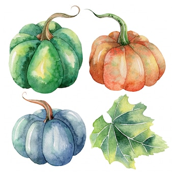 Handgeschilderde aquarel herfst illustraties met pompoenen