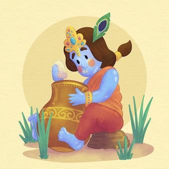 Handgeschilderde aquarel illustratie van baby krishna die boter eet