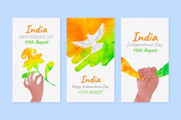 Handgeschilderde aquarel india onafhankelijkheidsdag instagram verhalencollectie
