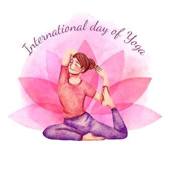 Handgeschilderde aquarel internationale dag van yoga illustratie