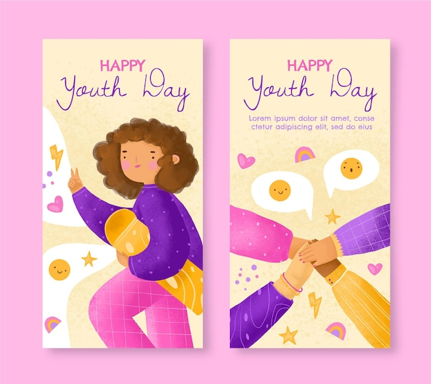 Handgeschilderde aquarel internationale jeugddag banners set