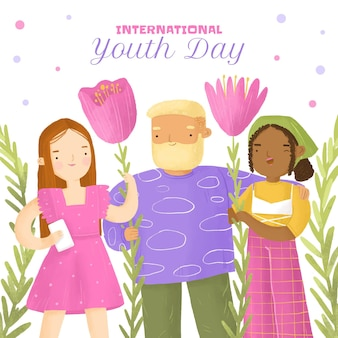 Handgeschilderde aquarel internationale jeugddag illustratie