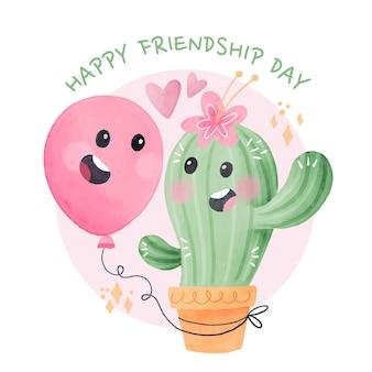 Handgeschilderde aquarel internationale vriendschap dag illustratie