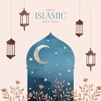 Handgeschilderde aquarel islamitisch nieuwjaar illustratie
