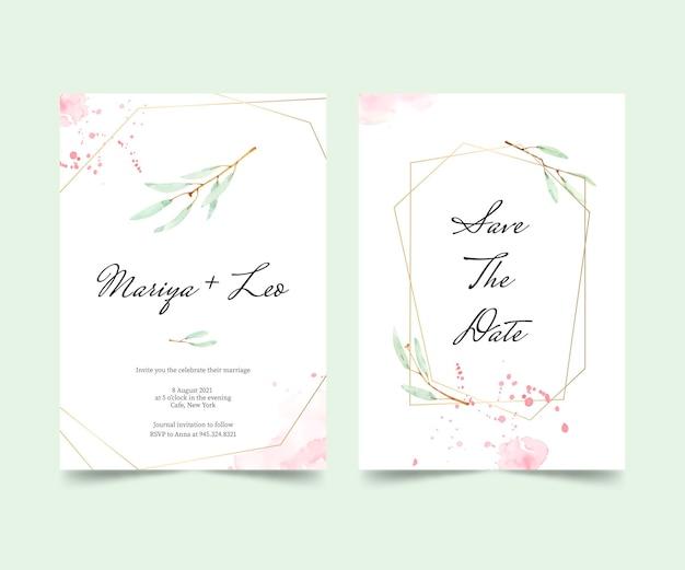 Handgeschilderde aquarel minimale bruiloft uitnodiging sjabloon